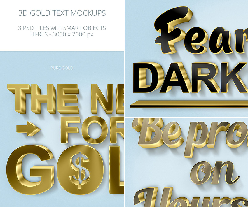 3D Gold Photoshop Text Mockups