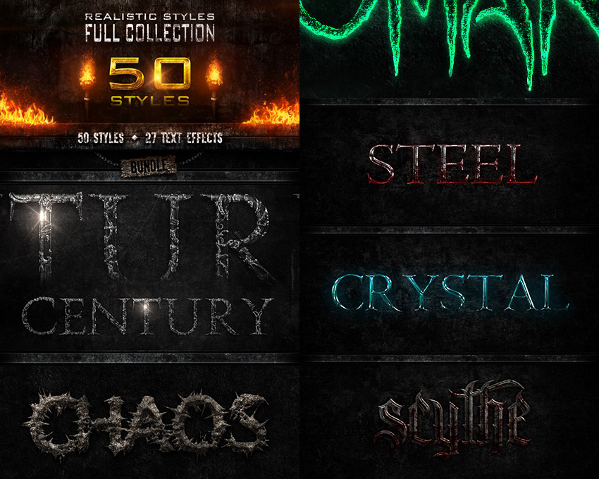 Realistic Photoshop Text Styles Bundle