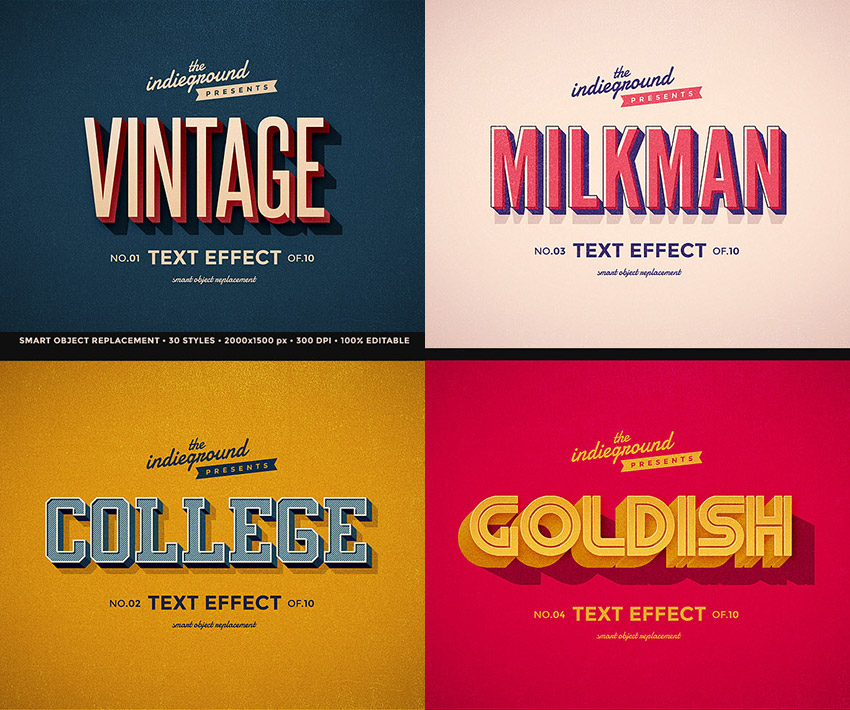 Retro Vintage Text Effects Bundle