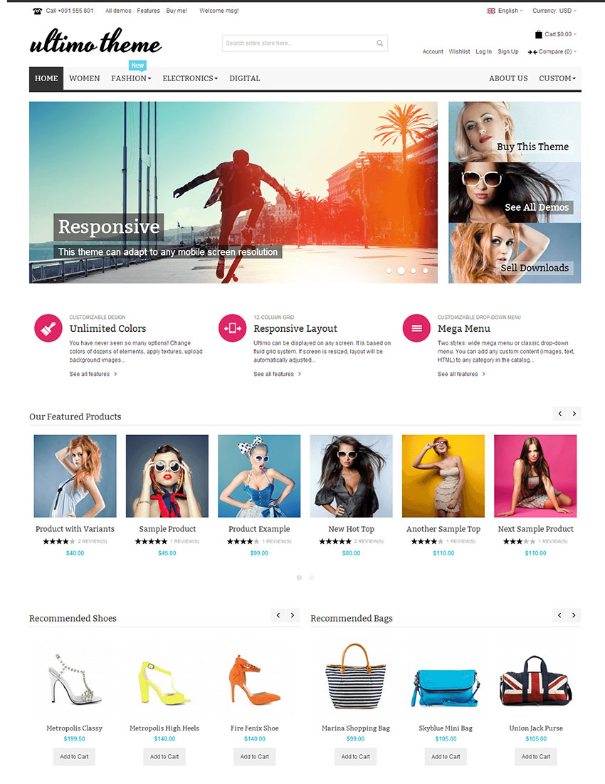15 best ecommerce website templates trending in 2016 for Magento homepage template