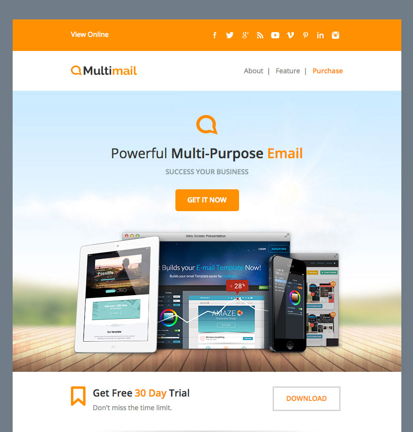 Multimail email template
