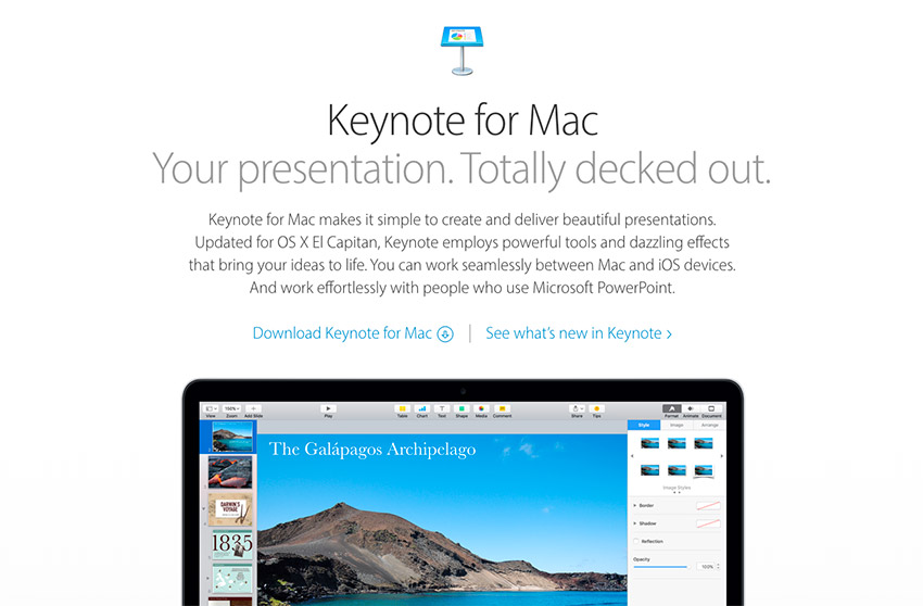 Apple Keynote Presentation Software