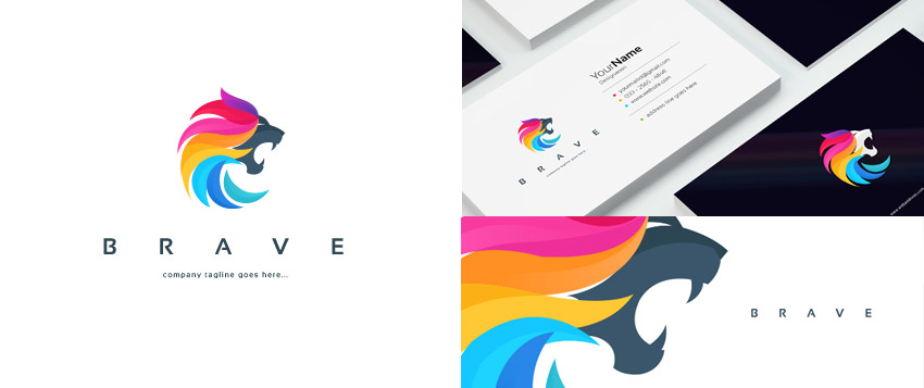 Colorful Lion Logo Template With Energetic Design