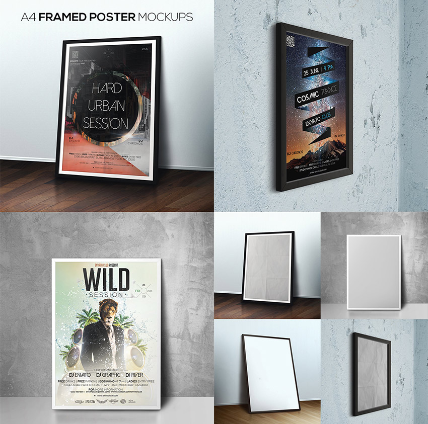 Framed Photoshop Poster Mockup Design Bundle