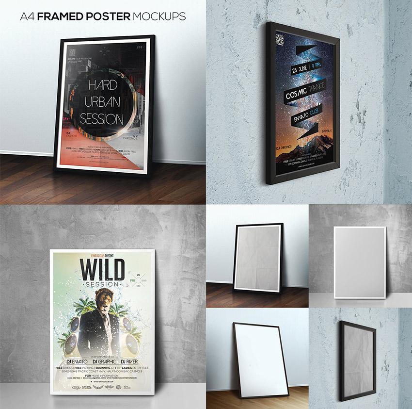 Framed Photoshop Poster Mockup Design Bundle