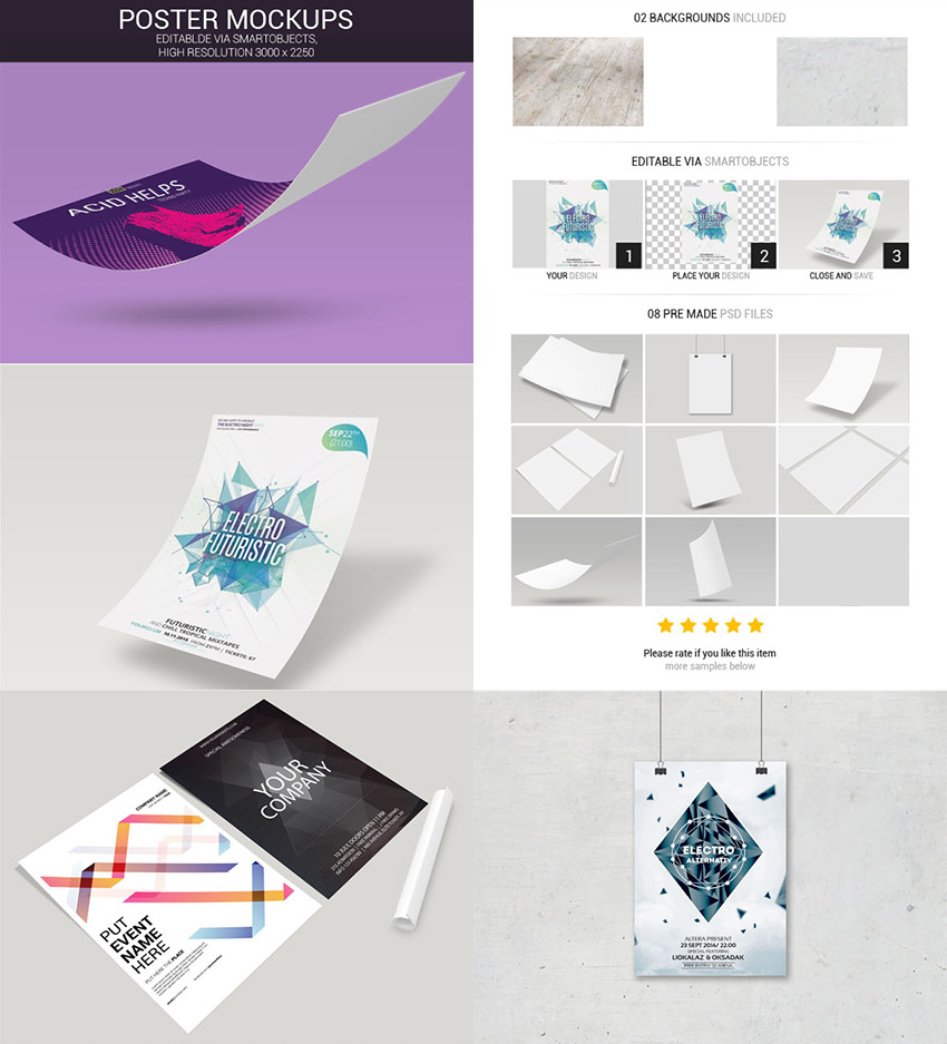 Poster Mockups Design Bundle Photoshop