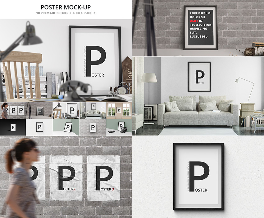 Simple PSD Poster Mockup Templates