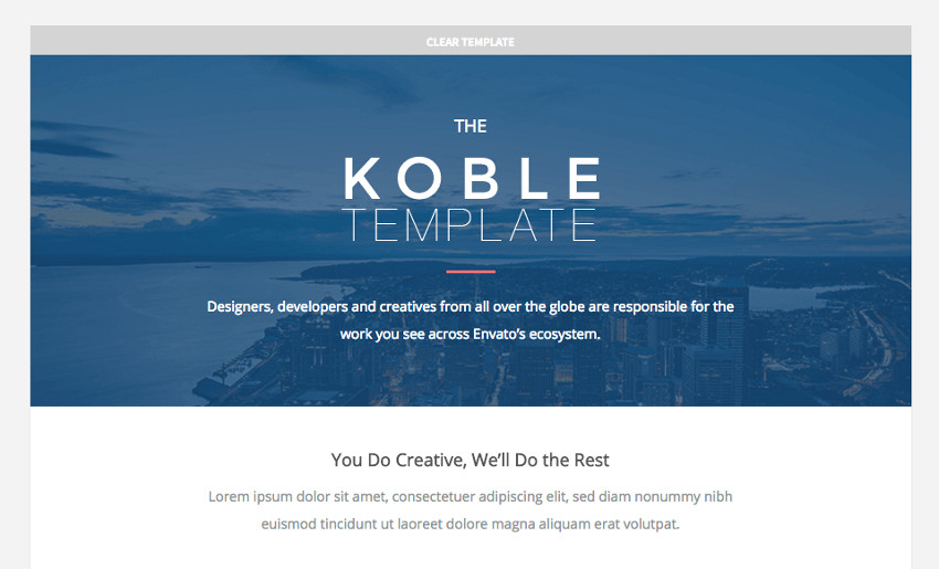 Koble email template design
