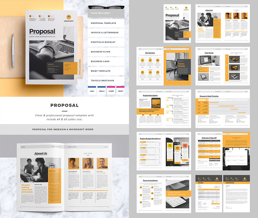 Exceptional Clean Business Project Proposal Template Throughout Proposal Layouts
