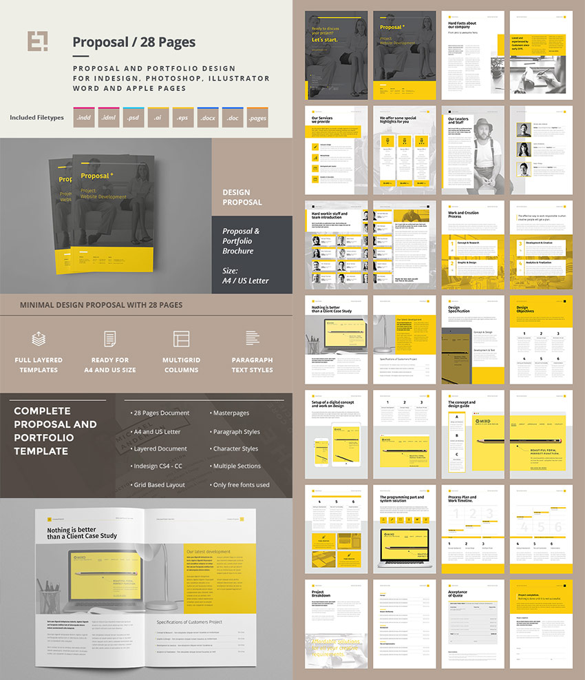 Creative Project Proposal Template Set  Free Proposal Template Word
