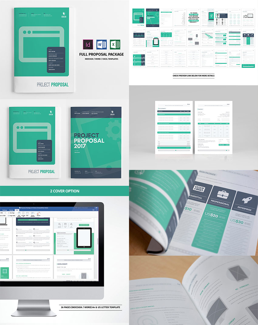 Full Business Proposal Template Package Design  Proposal Cover Page Design