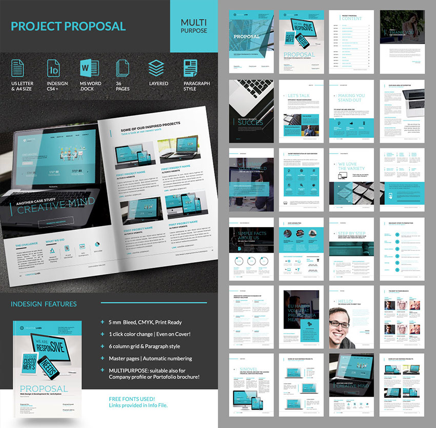 Persusive Business Project Proposal Template Set  Ms Word Proposal Template