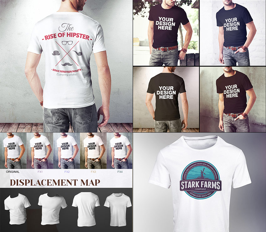 Hipster Men T-Shirt Mock-Up Photoshop Files