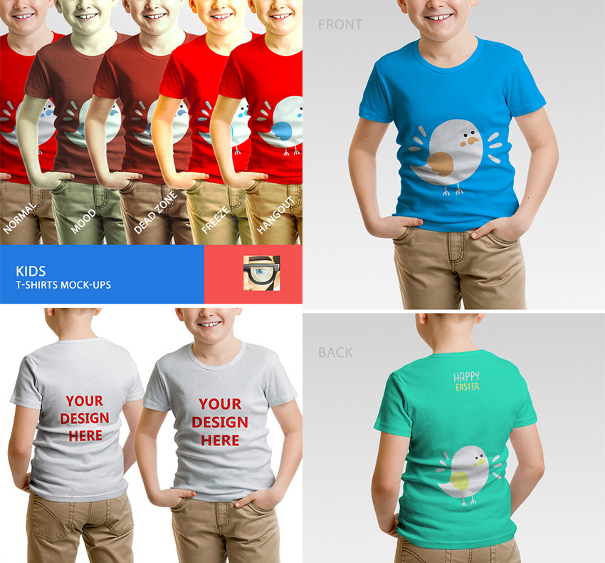 Kids T-Shirts PSD Template Mockups