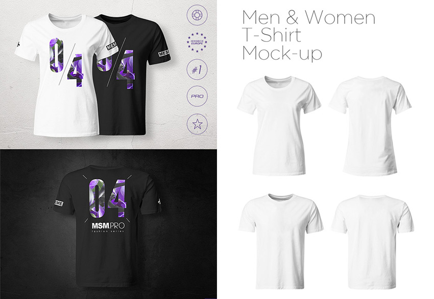 Men  Women T-Shirt PSD Mock-up Templates