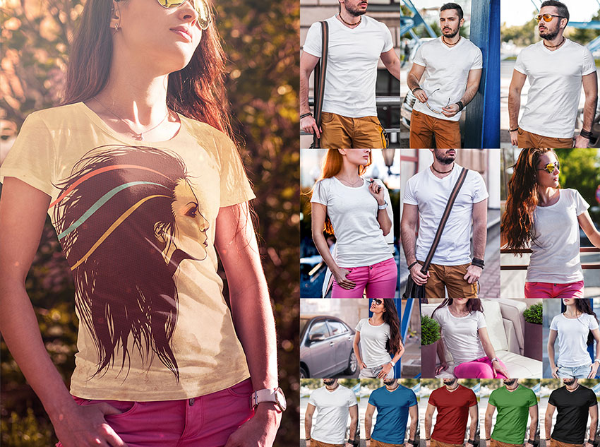 Photorealistic T-Shirt Fashion Photoshop Mockup Designs