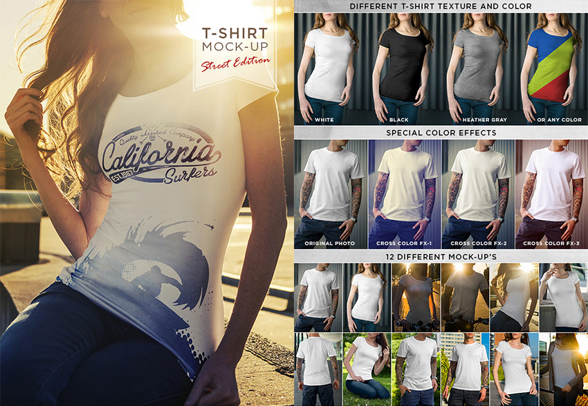 Street T-Shirt PSD Mock-Up Template Designs