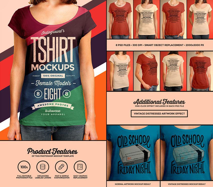 Women T-Shirt PSD Mockup Photorealistic Designs