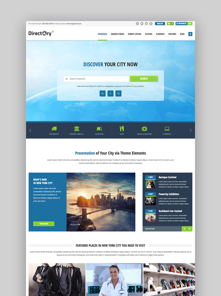 20 best wordpress directory themes to make business websites 2017 directory portal business wordpress listing template friedricerecipe Image collections