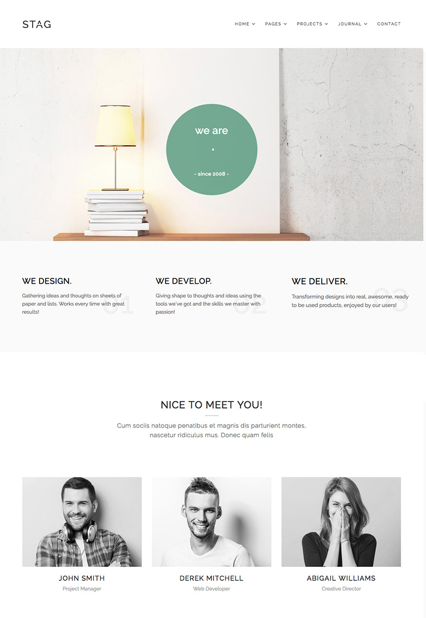 Stag Simple WordPress Folio Theme