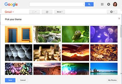 Customize gmail theme interface look