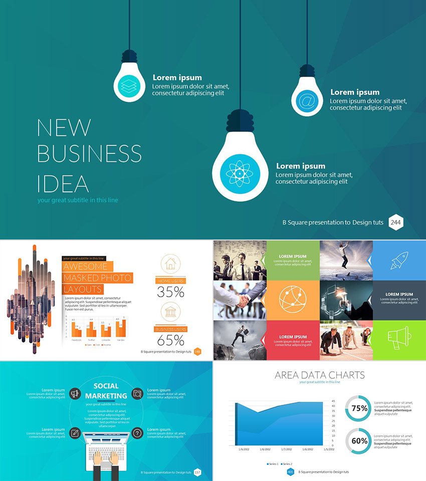 B Square Professional Business PowerPoint Template Design Ideas
