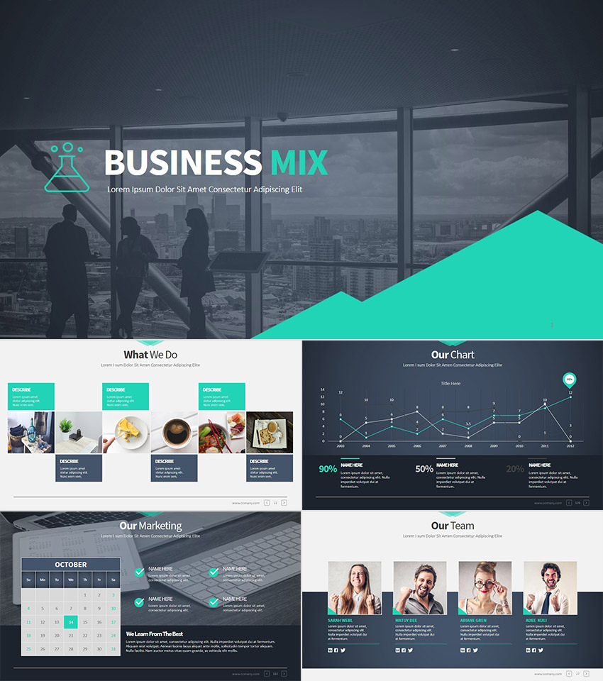 18 professional powerpoint templates for better business presentations business mix modern premium powerpoint presentation set flashek Images