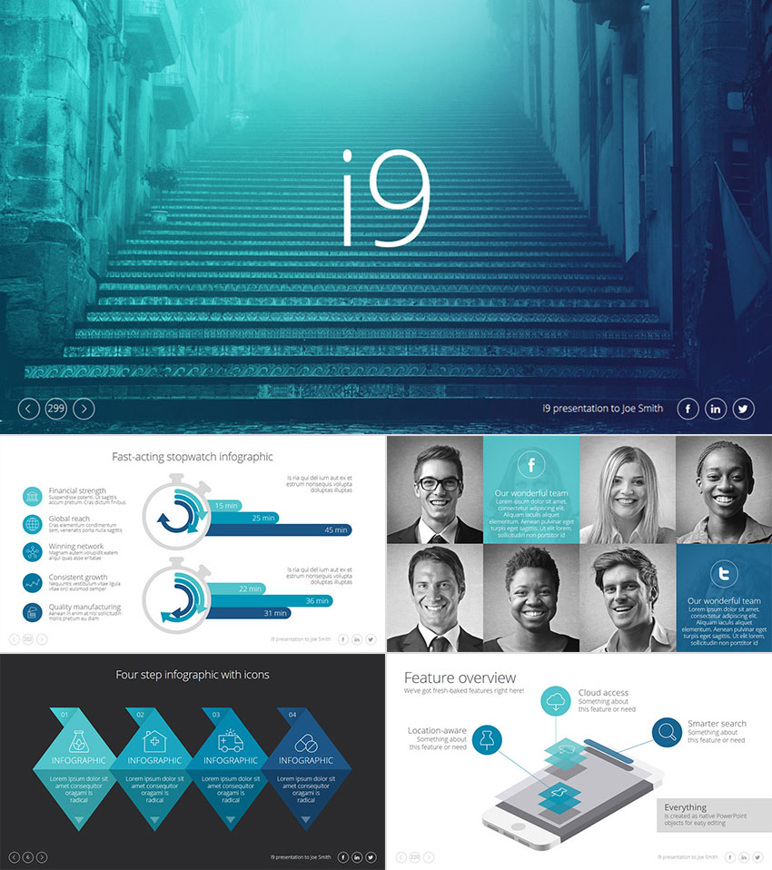 18 professional powerpoint templates for better business presentations i9 premium ppt template presentation set wajeb Image collections