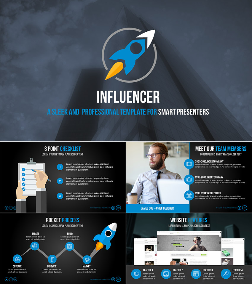 18 professional powerpoint templates for better business presentations influencer professional ppt presentation template fbccfo Image collections