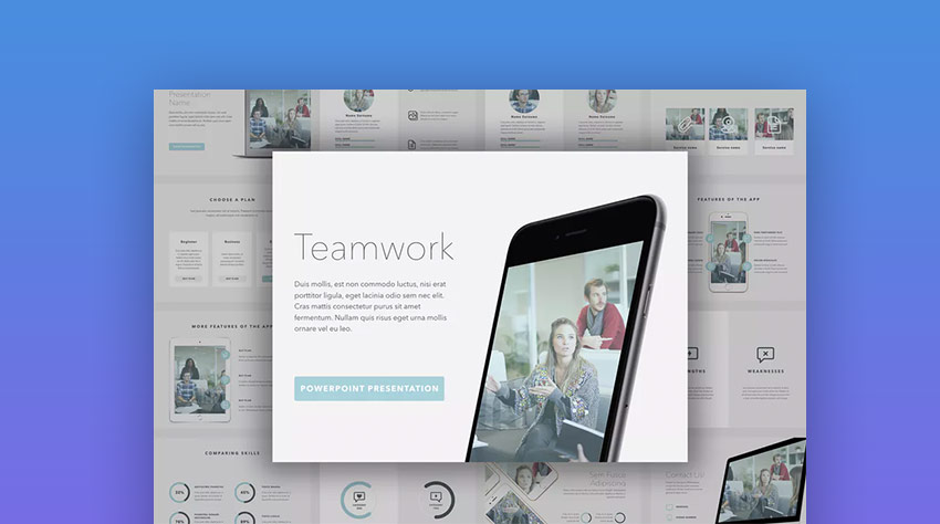 Teamwork PowerPoint PPT Business Slideshow Template