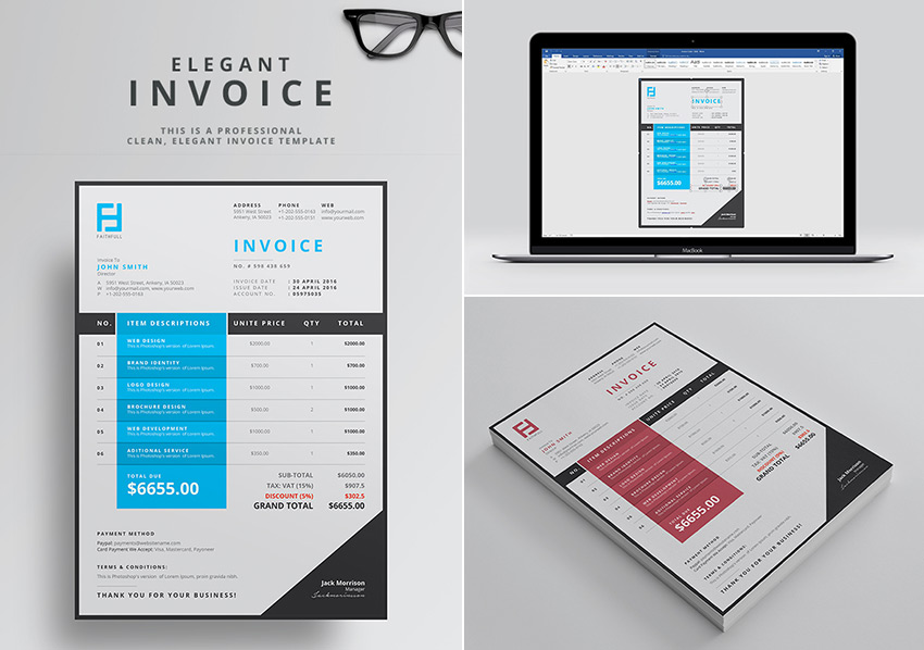 Elegant Word Invoice Template For Business Profesionals  Corporate Word Templates