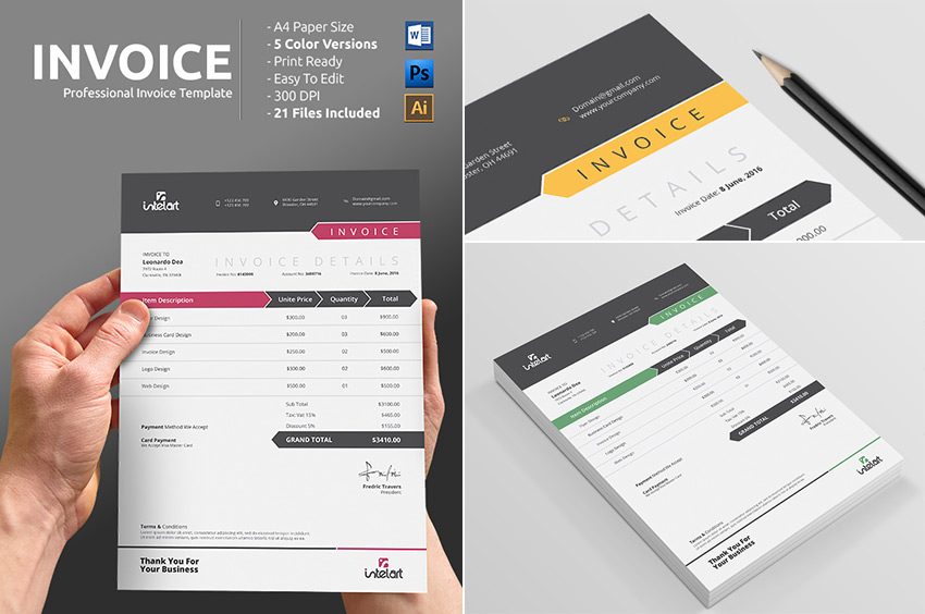 Simple Professional Invoice Template Word Print Ready  Invoice Design Template