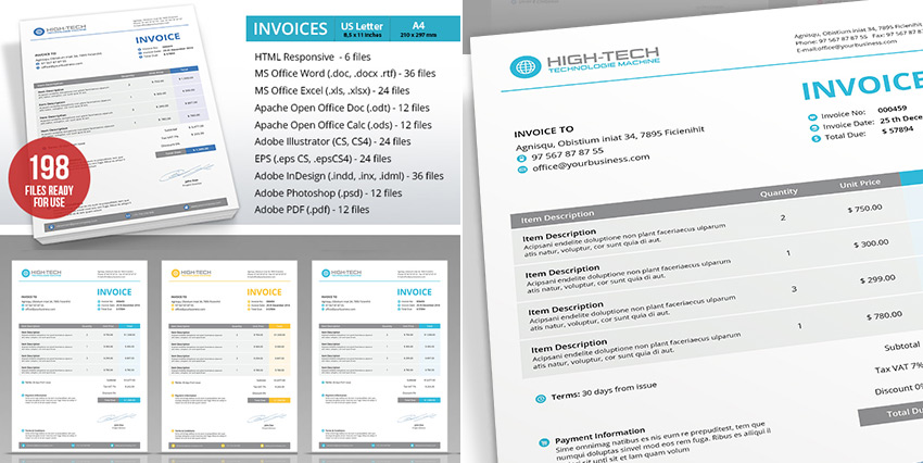 Microsoft Invoice Template Word Multi Format  Invoice Templates In Word