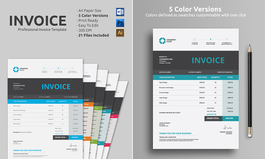 Clean Simple MS Word Doc Invoice Template  Invoice In Word