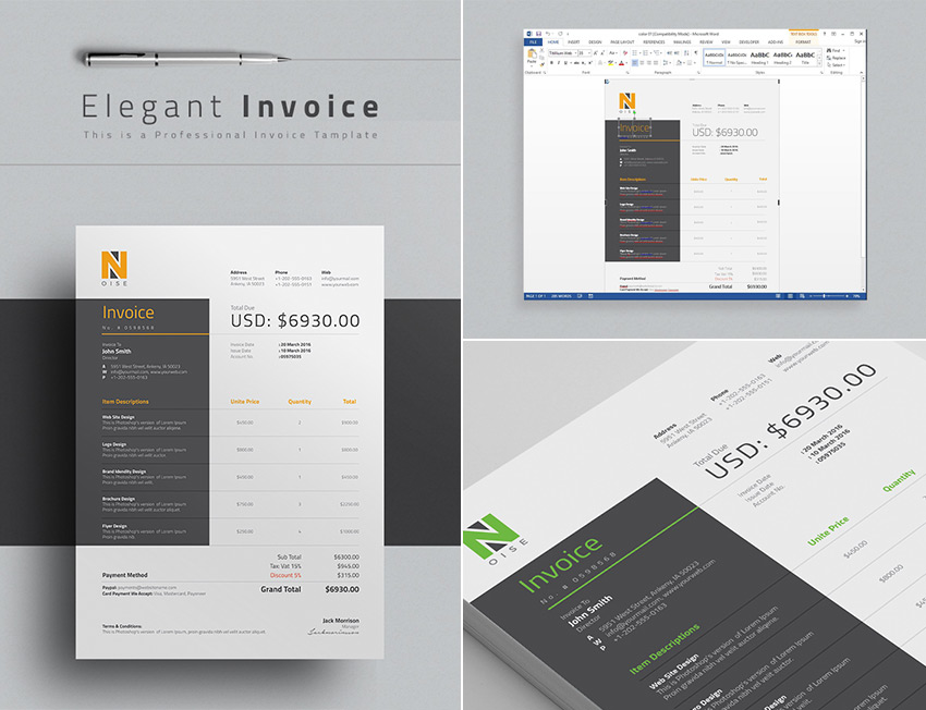 15 simple invoice templates made for microsoft word elegant word invoice template design wajeb Image collections