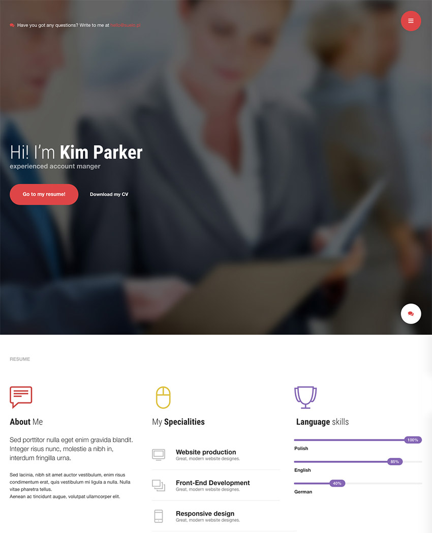best personal resume vcard wordpress theme mi