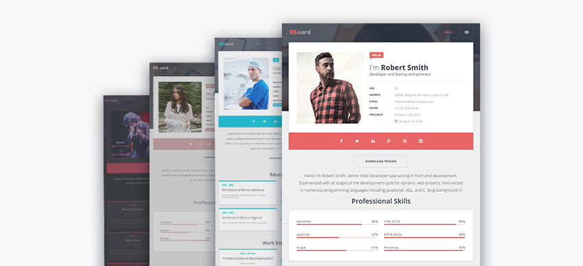Multiple Personal Resume WordPress Theme Design Options  Personal Resume Websites