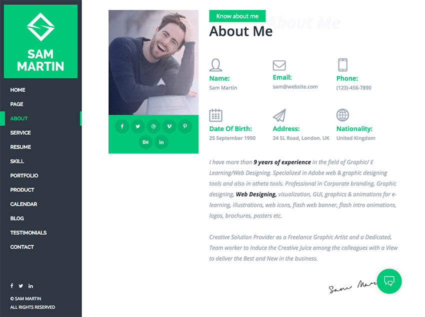 personal resume website templates free template cv theme martin