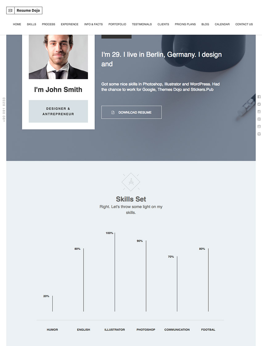 Resume Dojo   CV And Personal Portfolio WP Theme  Wordpress Resume Themes