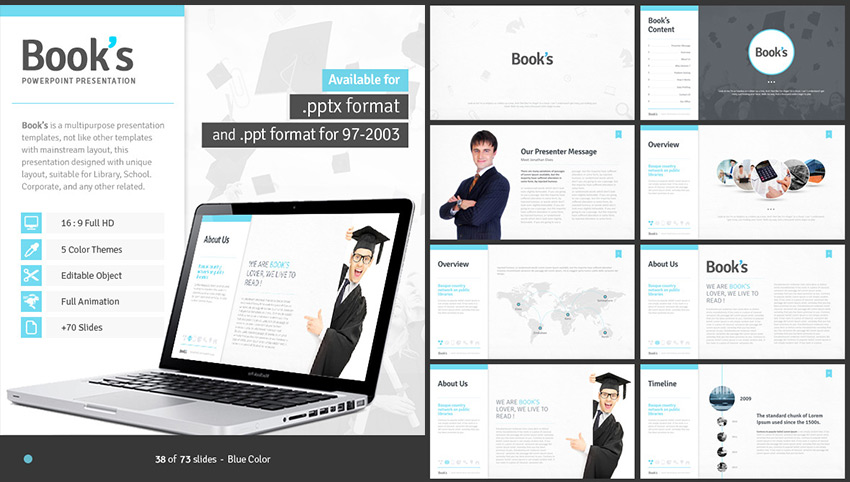 15 education powerpoint templates for great school presentations books powerpoint template for school and education use toneelgroepblik Choice Image
