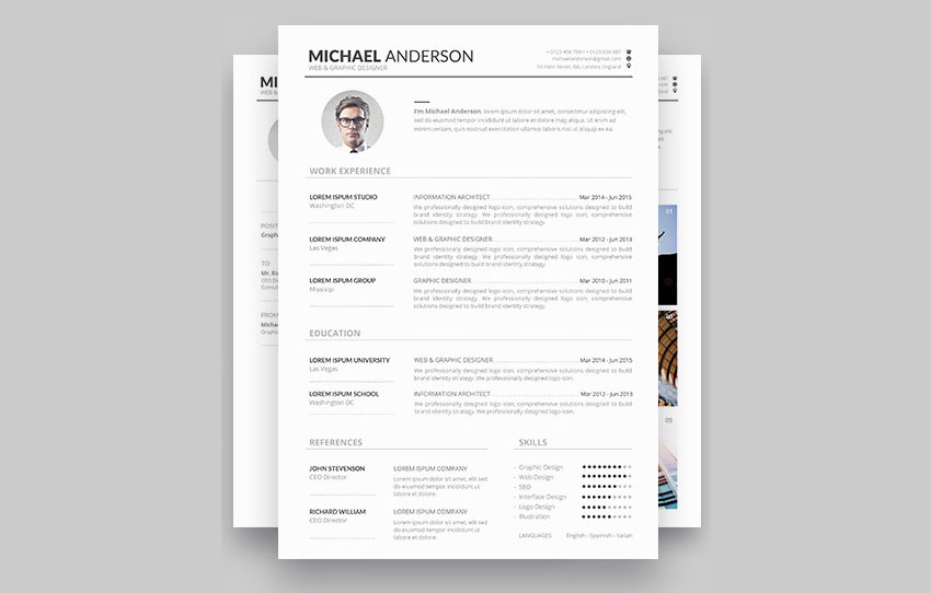 Minimal resume template design