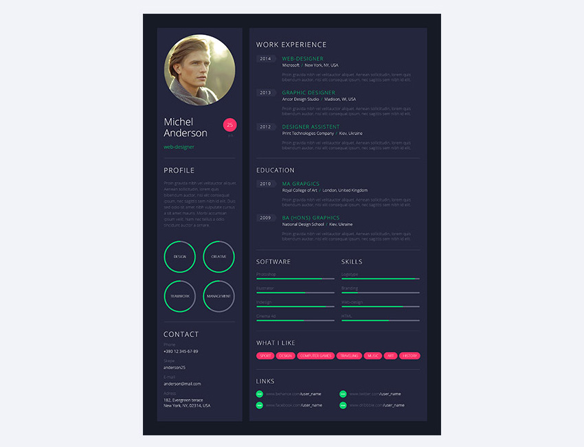 Stylish personal resume design