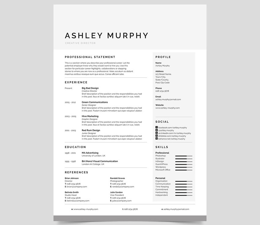 Simple Resume Template Design