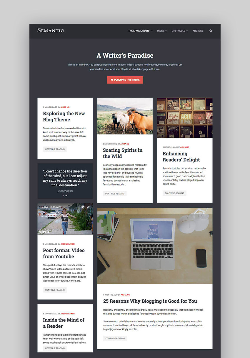 Semantic Responsive WordPress Blog Theme for Writers