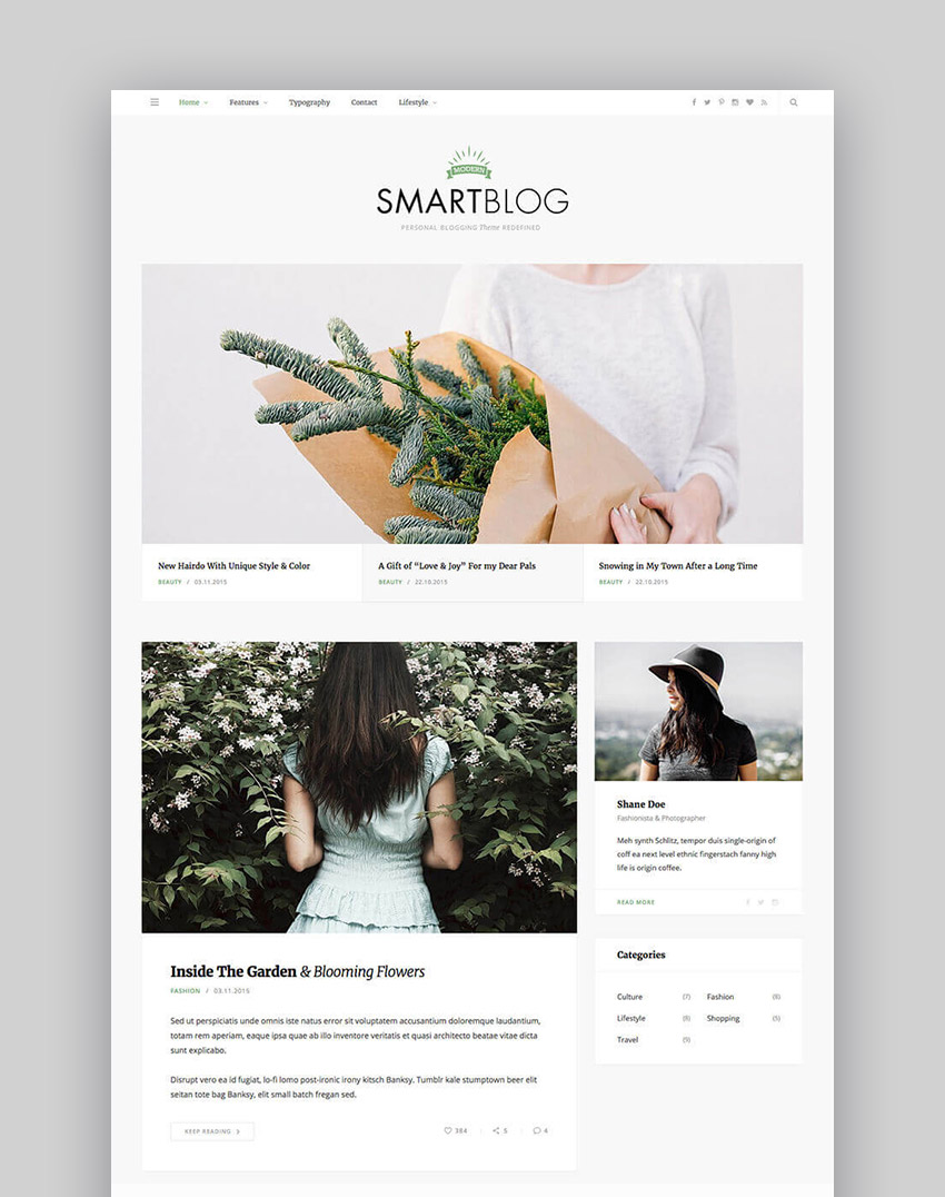 SmartBlog Simple WordPress Theme for Blog Writers