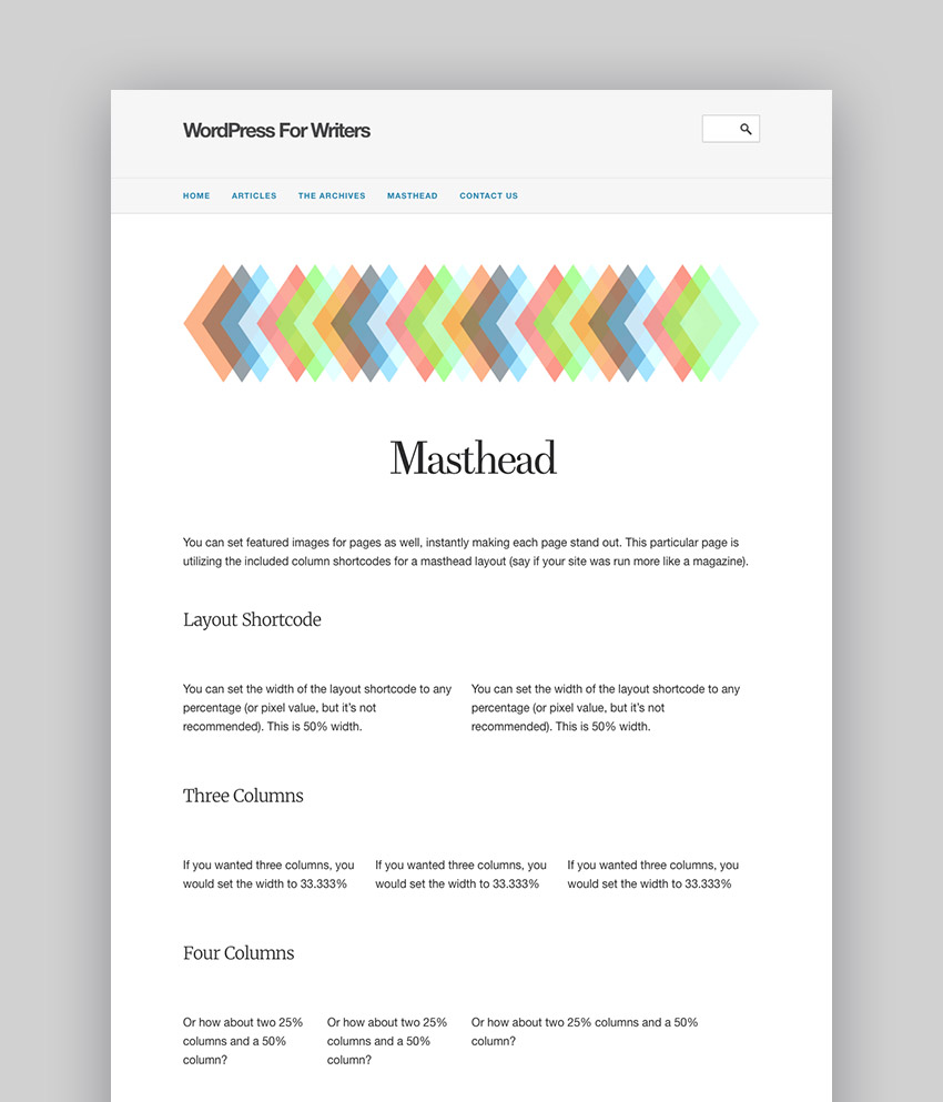 WordPress for Writers Text Based Minimal Author Theme