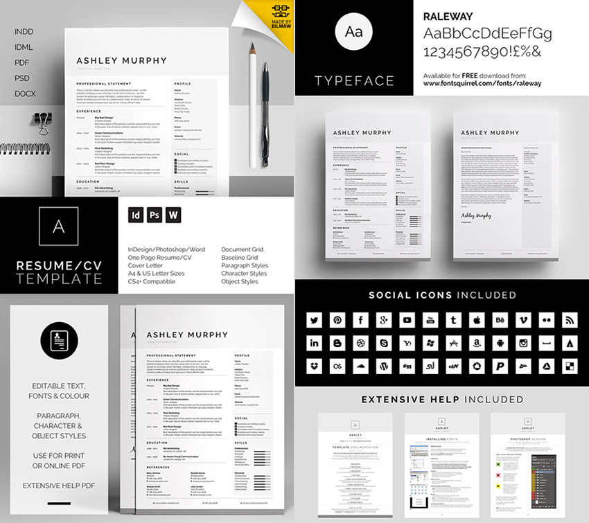 Ashley Professional Microsoft Word Resume Template  Word Doc Resume Template