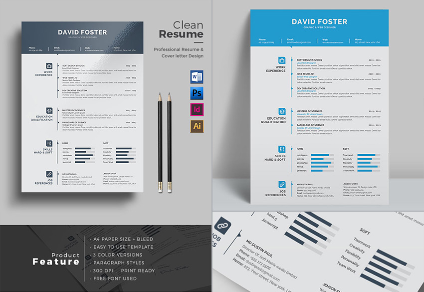 20 professional ms word resume templates with simple designs for Microsoft word graphic design