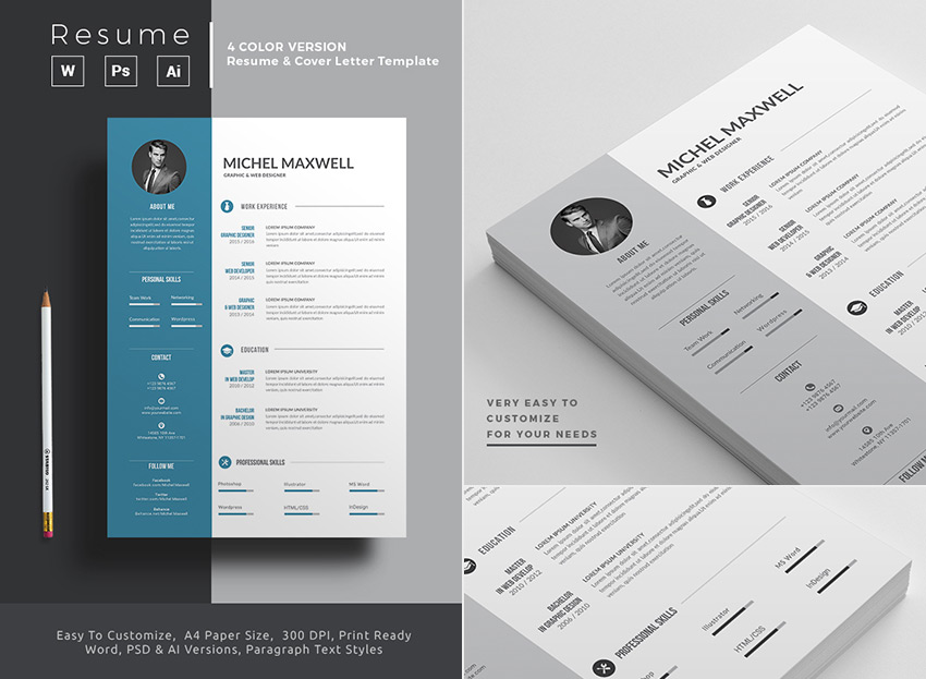 Microsoft Word Resume Template With 4-Color Versions