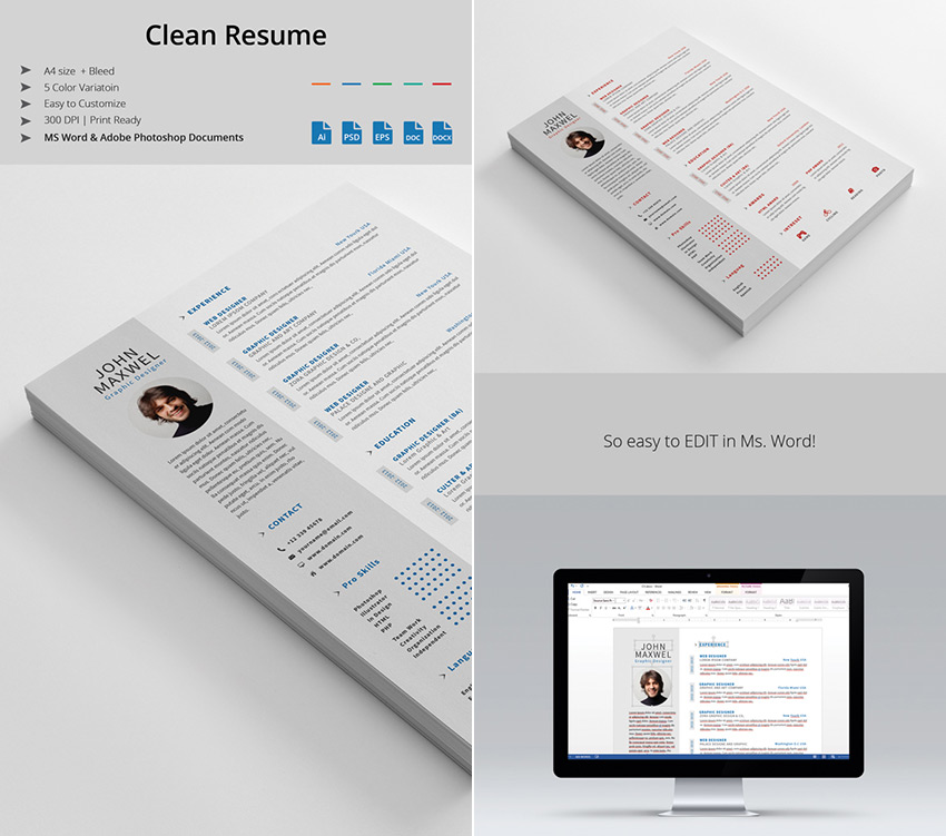 professional ms word resume template design set - Word Resume Template